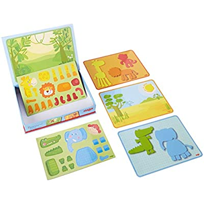 HABA Magnetic Game Box Safari Animals - 34 Magnetic Pieces with 4 Background Scenes in Cardboard Carrying Case: Toys & Games