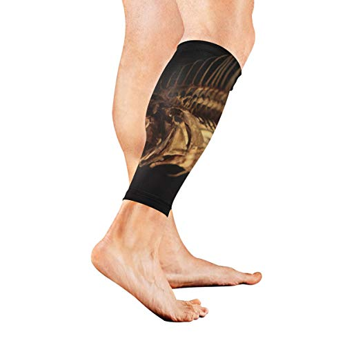 Sardine Fish Skeleton Shape of Pisces Calf Compression Sleeve Leg Compression Socks for Shin Splint Calf Pain Relief Men Women and Runners Improves Circulation Recovery ()