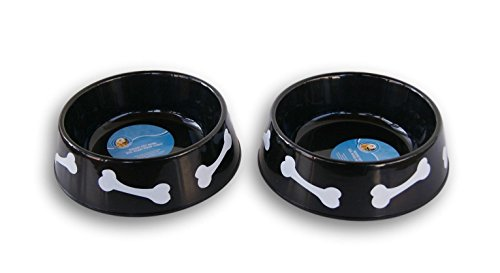 Set of Two Black Plastic 6-Cup Capacity Bone Pattern Dog Bowls - 8.5 x (10' Medium Bowl)