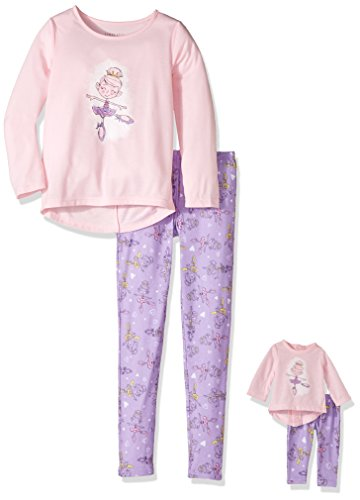 Komar Kids Big Girls' for Me and My Dream Doll Long Sleeve Jersey Pajama Set, Ballerina, 12 -