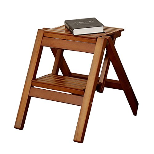 Ladders Step stool solid wood folding bench home loft multi-function step stool outdoor two-step folding step stool (Color : Black walnut color, Size : 4842.545.8cm)