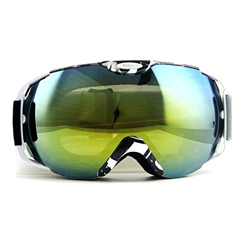 [Ediors® Windproof Motorcycle Snowmobile Ski Snow Sports Protective Safety Glasses Goggles Eyewear - Anti Fog Double Lens All Mountain / UV Protection (BLACK & WHITE, TENDED BLUE)] (All Mountain Snow Skis)