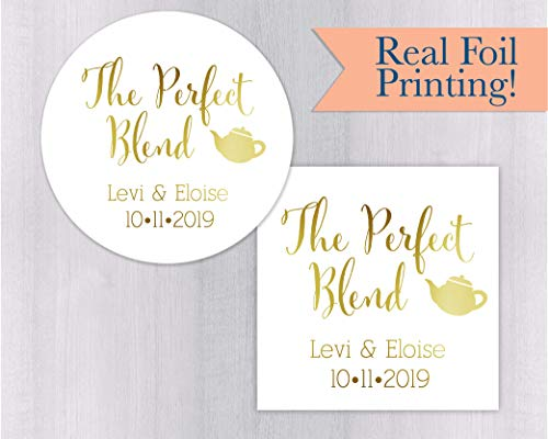 The Perfect Blend, Gold or Color Foil Tea or Coffee Wedding Favor Stickers(#098-F)
