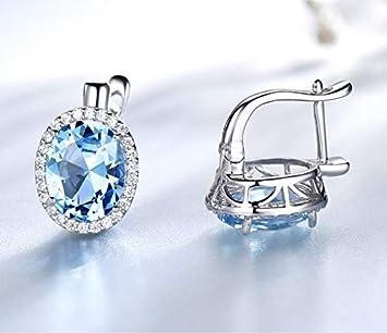 SHIJING Pendientes de Clip de Piedras Preciosas de Color Azul Celeste genuinos Pendientes de Plata de Ley 925 de joyería Fina romántica