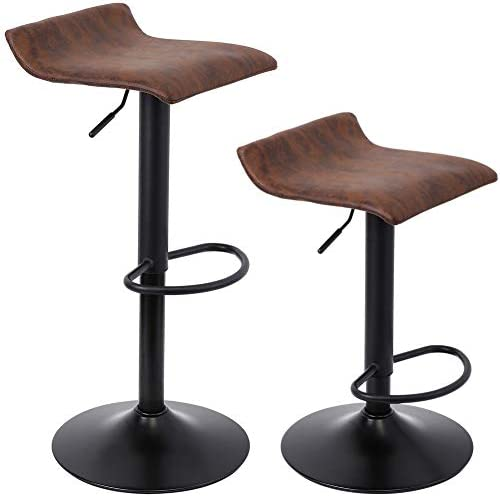 SUPERJARE Set of 2 Adjustable Bar Stools, Swivel Barstools Chair, Retro Brown