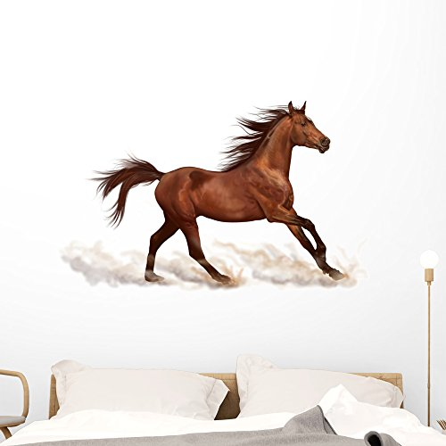 Brown Stallion Running Wall Decal by Wallmonkeys Peel and Stick Graphic (48 in W x 32 in H) WM77970 by Wallmonkeys Wall Decals