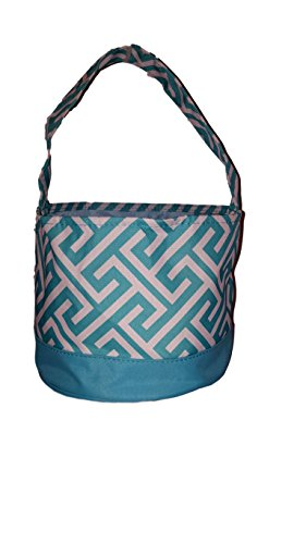 Childrens Fabric Bucket Tote Bag - Toys - Easter Basket - Custom Embroidery Available (Aqua Greek Key)