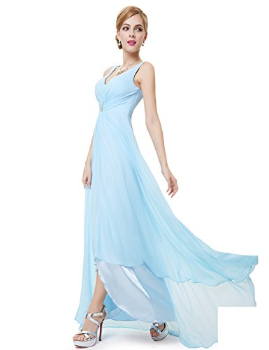 09983 Ausschnitt Blau MDL Abendkleider Lange V B Chiffon Pretty Damen Ever 0xqp6Tw