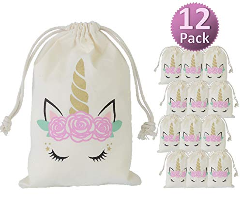 My Greca Unicorn party bags supplies - 12 party favor bags for treats, gifts and candy - Drawstring goodie bags for girls birthday party