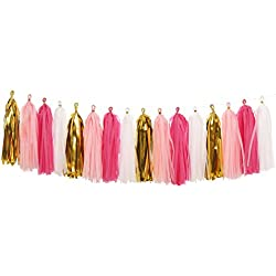 Ling's moment Tassel Garland, Tissue Paper Tassels for Wedding, Baby Shower, Event & Party Supplies, 16 pcs DIY Kits - (Metallic Gold+Pink+White+Hot Pink)