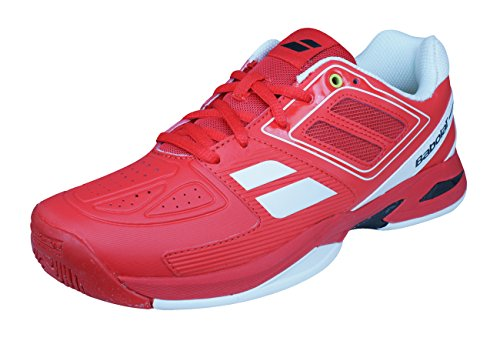 White//Red Auth Dealer BABOLAT Pulsion All Court Junior Tennis Shoes Sneakers
