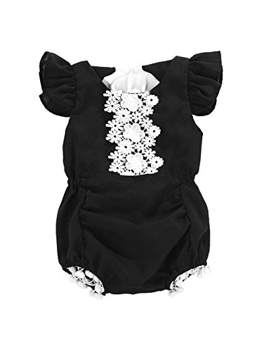 Baby Girl Animal Pattern Short Sleeve Lace Lotus Collar Off Shoulder Bodysuit Romper Summer Clothes (Black, 0-6 Months)