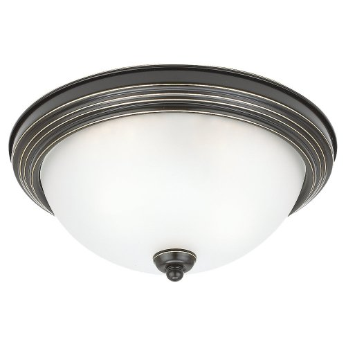 782 Sussex Single Light - Sea Gull Lighting 79264BLE-782 Single-Light Close-To-Ceiling Sussex Fluorescent Light Fixture, Satin Etched Glass Shade and Heirloom Bronze