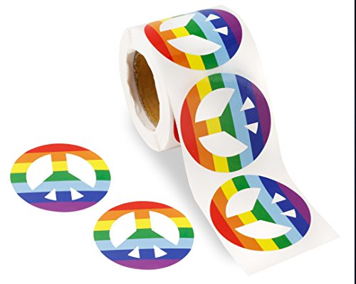 250 Gay Pride Peace Sign Rainbow Stickers on a Roll - Peace Sign Shaped (250 Stickers) - Support LGBT Causes -