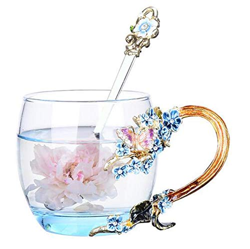 (YBK Tech Creative Flower Glass Mug in Gift Box Crystal Glass Tea Cup with Handle for Hot Beverage, Iced Tea, Naked Juice - Purple Butterfly and Plum Blossom (Blue, Small (320ml)))