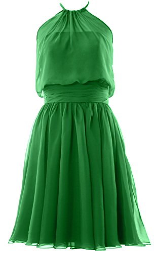 Gown Formal MACloth Bridesmaid Party Halter Women Green Dress Chiffon Cocktail Short r70z7W