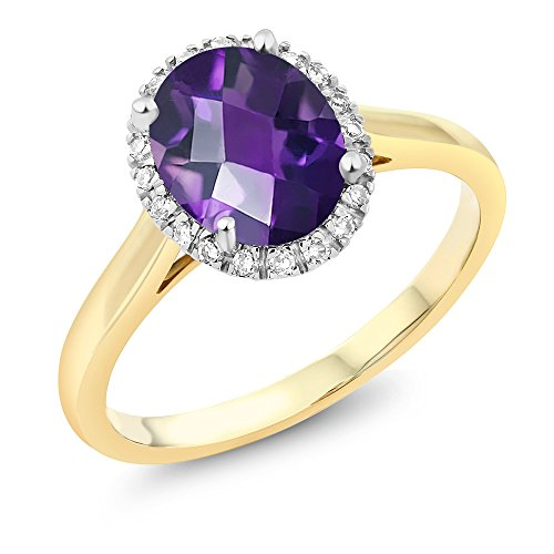 Gem Stone King 10K 2-Tone Gold Checkerboard Amethyst and Diamond Halo Engagement Ring 1.50 Ct (Size 8)