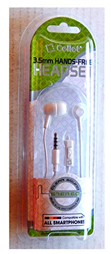 Cellet 3.5mm Stereo Sound Hands-Free Headphones With Microphone - White - Unused Unopened in Original Retail Packaging - This Is For 1 Headset Only