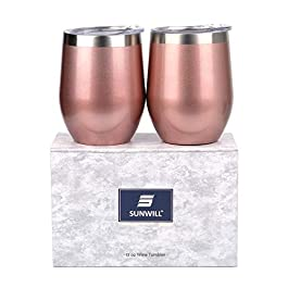 SUNWILL Insulated Wine Tumbler with Lid Rose Gold 2 pack, Double Wall Stainless Steel Stemless Insulated Wine Glass 12oz…