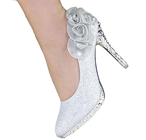 Rose Women's Glitter Crystal Silver getmorebeauty Flower Shoes Wedding 7SxT5gn
