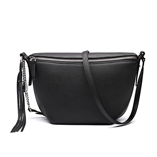 Black Small Crossbody Tassel Pocket Cowhide Bag Women Bags Leather Zipper with Shoulder for 7rOwCq7B