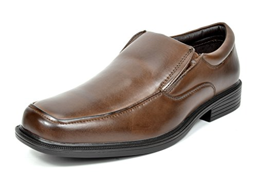 Bruno Marc CAMBRIDGE-02 Men's Formal Loafers Lace Up Slip On Square Moc Toe Leather Lining Dress Classic Oxford Shoes DARK BROWN SIZE 9