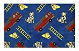 Hook and Ladder Fire Engine Blue Multi - 2'x3' Custom Stainmaster Premium Nylon Carpet Area Rug ~ Bound Finished Edges