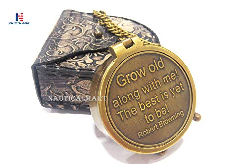 Compass On Chain (NauticalMart Grow Old Along with Me Engraved Brass Compass with Chain and Leather case Gift for Wedding, Anniversary, Baptism, Retirement, or Christmas - Vintage Style Working)