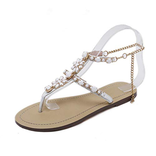 LINH MIU 6 Color Woman Sandals Women Shoes Rhinestones Chains Thong Gladiator Flat Sandals Crystal Chaussure Plus Size 46 Tenis Feminino ()