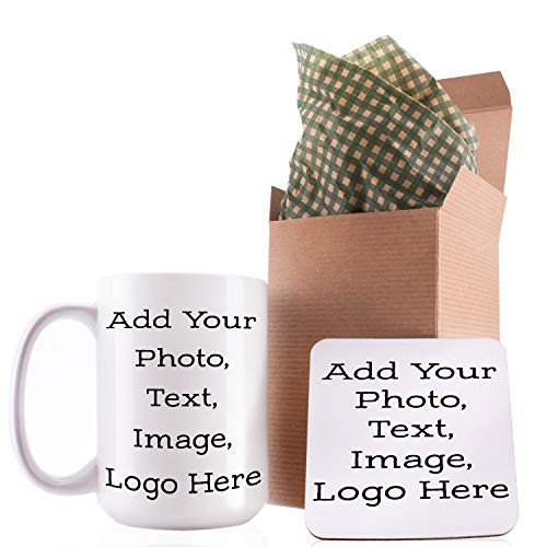 Personalized Mug With Photo - Customizable 15oz Ceramic Personalized Coffee Mug, Add Picture, Text, Logo To Your Custom Mugs - Personalized Gifts, Monogrammed Custom Mugs With Pictures, Funny Gifts