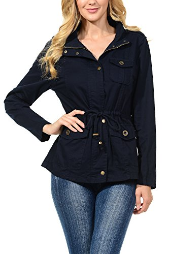 Auliné Collection Womens Military Safari Utility Fashion Anorak Jacket Navy M