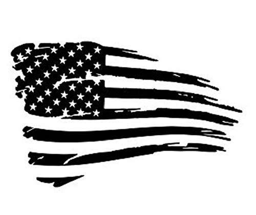 (CarTats Distressed American Flags Vinyl Decal Grunge Military Tore Proud Patriotic Car Truck Window Bumper Sticker White, Black, Red, Matte Black, Silver and Pink (5x3.25, Black))