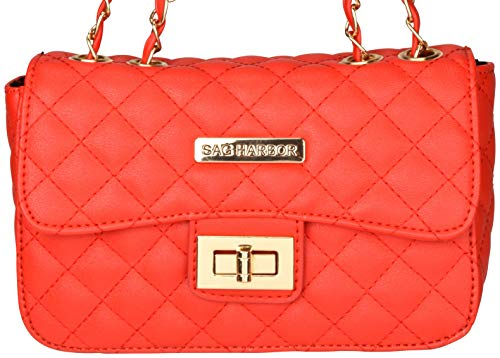Leather Diamond Sag Red with Pattern Bag Casual Stitching Body Harbor Faux Cross qFwFZEp8