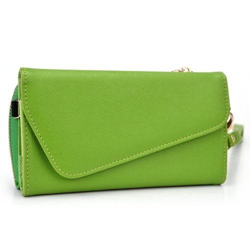 Prestigio MultiPhone 7600 Duo Womens Wristlet with Shoulder Strap | Semi-Gloss Olive Green and Lime Green + ND Cable Tie
