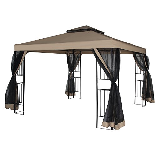 Cloud Mountain Garden Gazebo Polyester Fabric 10' x 10' Patio Backyard Double Roof Vented Gazebo Canopy with Mosquito Netting, (Backyard Gazebo)