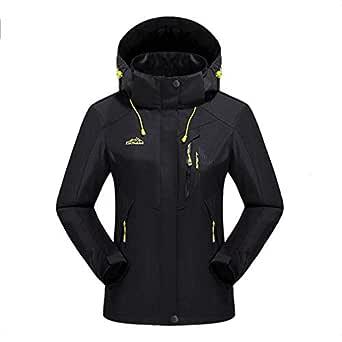 CWSY Women's Waterproof Jacket Outdoor Hooded Raincoat for Hiking Skiing Trekking Travelling Windbreaker Mountaineering,Black,M
