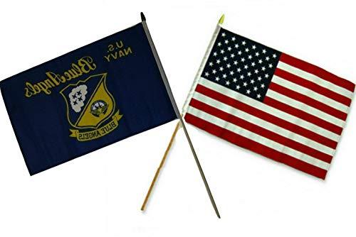 Mikash 12x18 12x18 Wholesale Combo USA American Navy Blue Angels Stick Flag | Model FLG - 3304