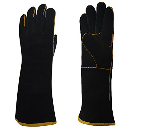 Kingsnow Extra Long Professional Oven Mitts,Heat Resistant Cowhide Potholder Gloves/1 Pair/Up to 450℉ for Kitchen - 17 Mitts Oven Inch