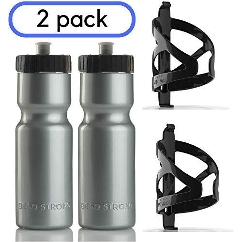 50 Strong 22 oz. BPA Free Squeeze Bike Water Bottle with Bicycle Cage - 2 Pack - Made in USA (Silver)