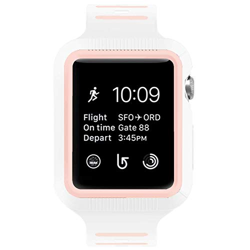 BRG Compatible with Apple Watch Band with Case, Silicone Sport Watch Band with Shock-Proof Protective Case Compatible with Apple Watch Series 3 Series 2 Series 1,Sport and Edition 42mm