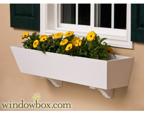 54 Inch Tapered Unity Chic No Rot PVC Composite Flower Window Box w/ 2 Decorative Brackets by Windowbox