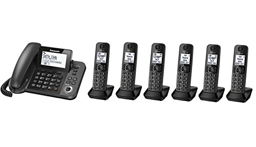 Panasonic KX-TGF353M plus three KX-TGFA30M handsets DECT 6.0 Plus Corded Cordless 6-Handset Landline Telephone System (Certified Refurbished) (KX-TGF353N+3 - KX-TGF352N+4 - KX-TGF350N+5)