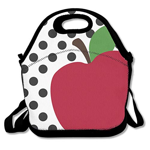 Jiqnajn6 Teacher's Apple Insulated Neoprene Lunch Bag Kids & Adults Zipper Lunch Tote Handbag with Adjustable Strap Lunchbox for School Office