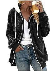 SGSD Damesjas met capuchon, warme mantel, teddy fleece, pluche jas, rits, hoodie, cardigan, pluche jack: teddy fleecejas, pluche mantel, dames teddyjas, winterparka, overgangsjas, herfst, lange capuchon