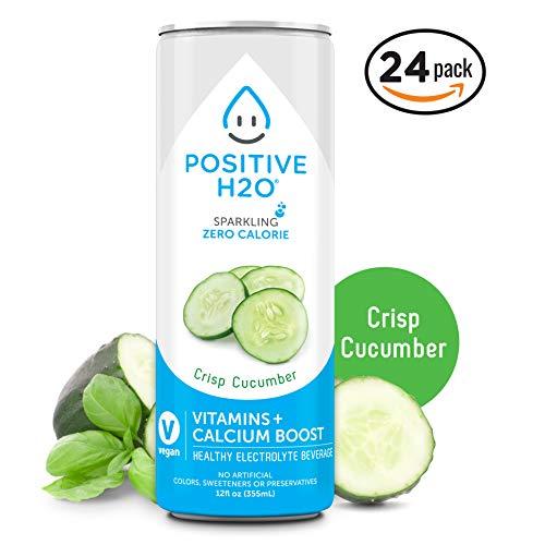 Positive H2O Sparkling Crisp Cucumber (24 Count, 12 Fl Oz Each)