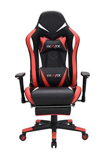 Ficmax Red Gaming Chair High-Back Ergonomic Computer Chair Racing Gaming Chair PU Leather E-Sports Chair PC Chair Gaming Height Adjustable Gaming Desk Chair Massage Lumbar Support Footrest