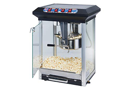 Winco POP-8B, 23''L x 17.7''W x 14.8''H Stainless Steel Black Showtime Electric 8 Oz. Popcorn Machine, 120V, 1130W, Popcorn Popper, Commercial Electric Popcorn Machine