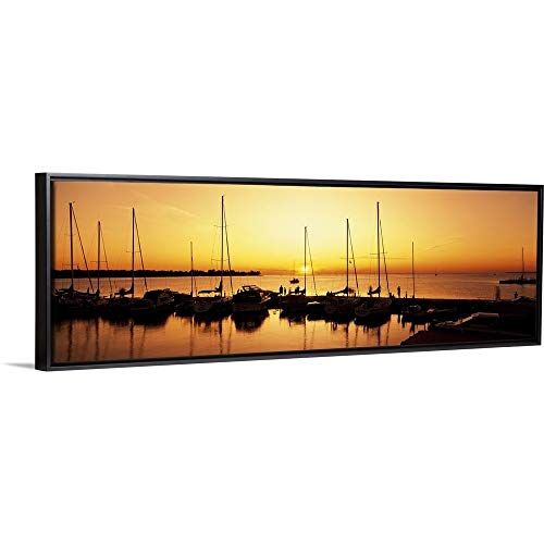 (Silhouette of Boats in The sea, Egg Harbor, Door County, Wisconsin Black Floating Frame Canvas)