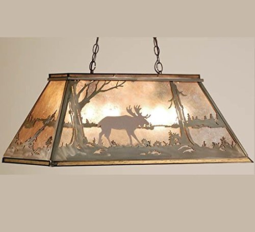 Meyda Tiffany 65097 Moose at Lake Oblong Pendant Light Fixture, 33