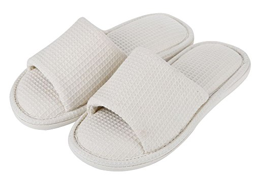 Soft Open Slide Pure Cotton House Shoes White Womens Slippers Toe Mens Fw61x0qt
